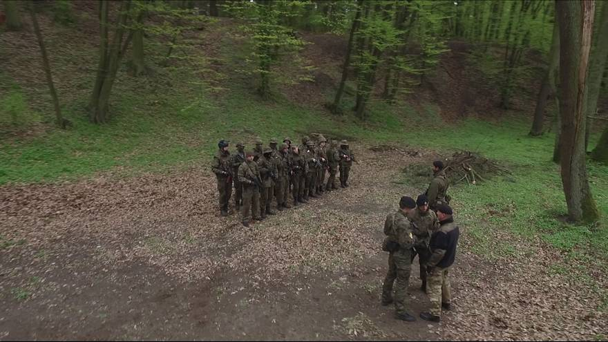 Paramilitary war training in Polish forests