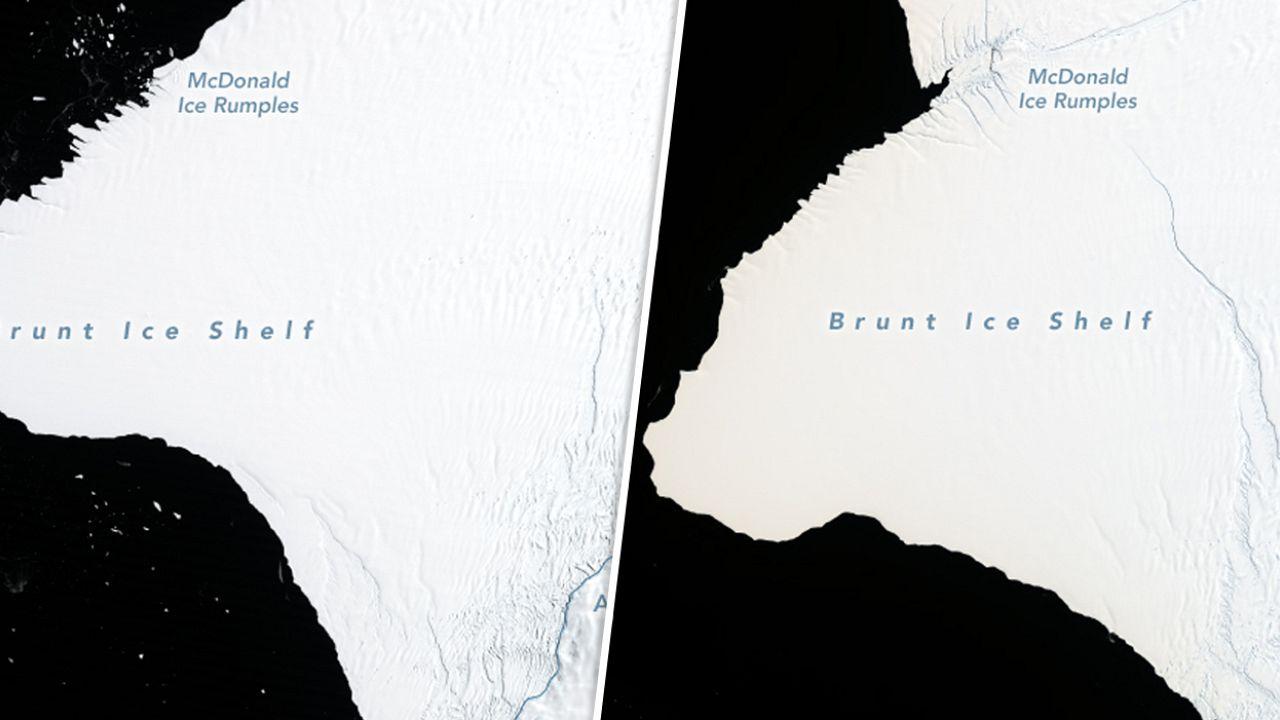 Image:  Antarctica's Brunt Ice Shelf seen in 1986, left, and 2019.