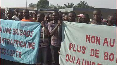 Centrafrique : manifestation des conducteurs de camions à Bangui.