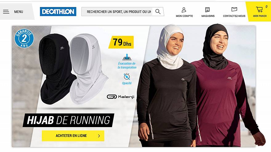 Image: A screenshot shows hijabs for women joggers on sale on the Moroccan