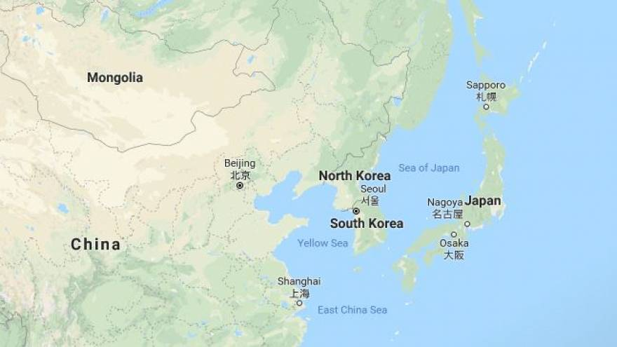 Image: Map showing North Korea and its neighbors
