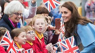 Kate Middleton is seen on a walkabout outside the Braid Centre in Ballymena