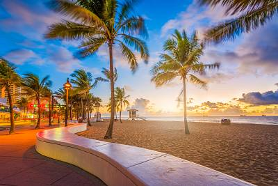 The view of Fort Lauderdale Beach, Florida at dawn.