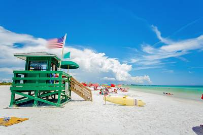 Siesta Beach is located in Siesta Key, off the coast of Sarasota, Florida.