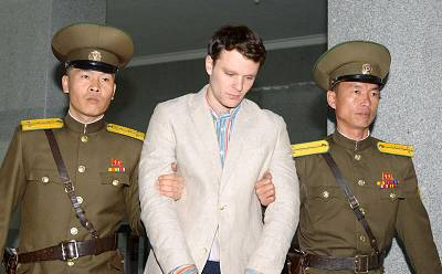 Otto Warmbier is taken to a court in Pyongyang, North Korea, on March 16, 2016.