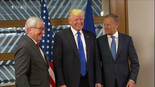 Trump Brüksel'de AB yetkilileri ile görüştü