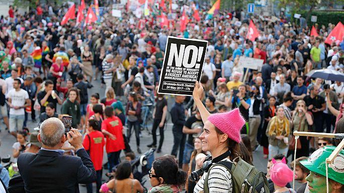 Donald Trump politikája ellen tüntettek Brüsszelben