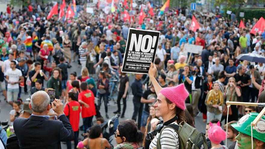 راهپیمایی مخالفان ترامپ در بروکسل