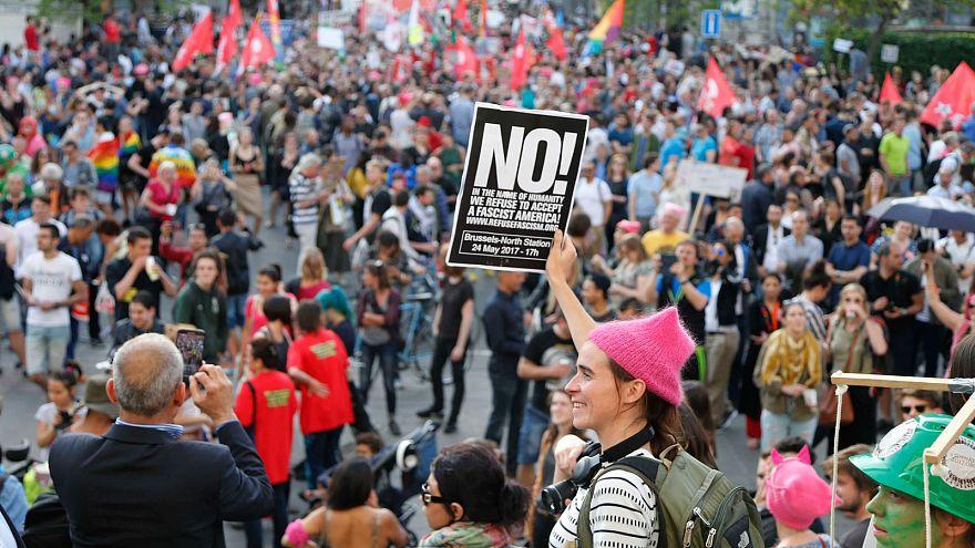 Brüssel: Aktivisten gegen Trump