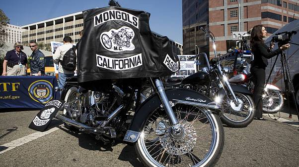 Motorcycles seized from the Mongols Motorcycle gang is on display during a