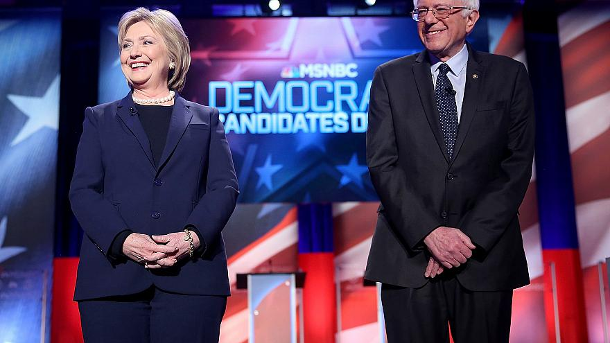 Image: Democratic Presidential Candidates Hillary Clinton And Bernie Sander