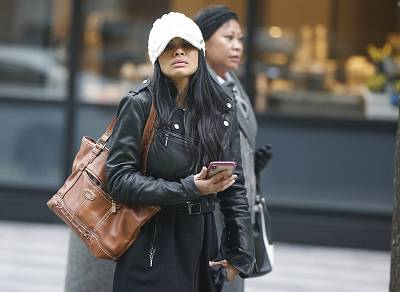 Former regional director Sunrise Lee, a defendant in the Insys trial, exits the John Joseph Moakley United States Courthouse in Boston on Jan. 29, 2019.