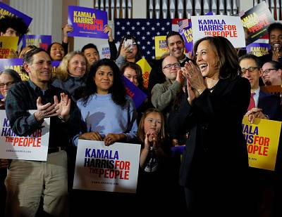 Sen. Kamala Harris of California at a campaign town hall meeting in Portsmouth, New Hampshire, on Feb. 18, 2019.