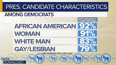 More than 90 percent of Democrats say they would be enthusiastic about, or comfortable with, an African American or woman candidate.