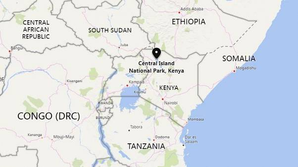 Image: A map showing the location of Kenya's Central Island National Park