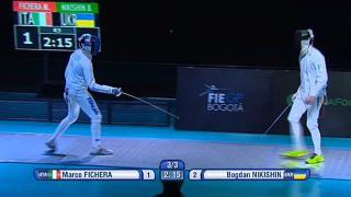 الأوكراني نيكيشين و المجرية كوفاتش يفوزان بالجائزة الكبرى للمبارزة بالسيوف في بوغوتا