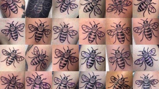 Tatuajes de abejas en solidaridad con las víctimas de Mánchester