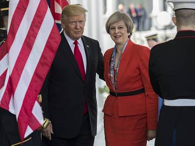 President Donald Trump greets British Prime Minister Theresa May as she arrives at the White House on Jan. 27, 2017. She was the first foreign head of state to meet Trump there.