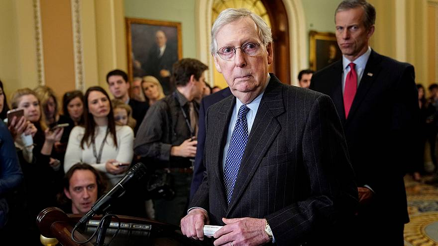Image: Senate Majority Leader Mitch McConnell speaks after a Republican pol