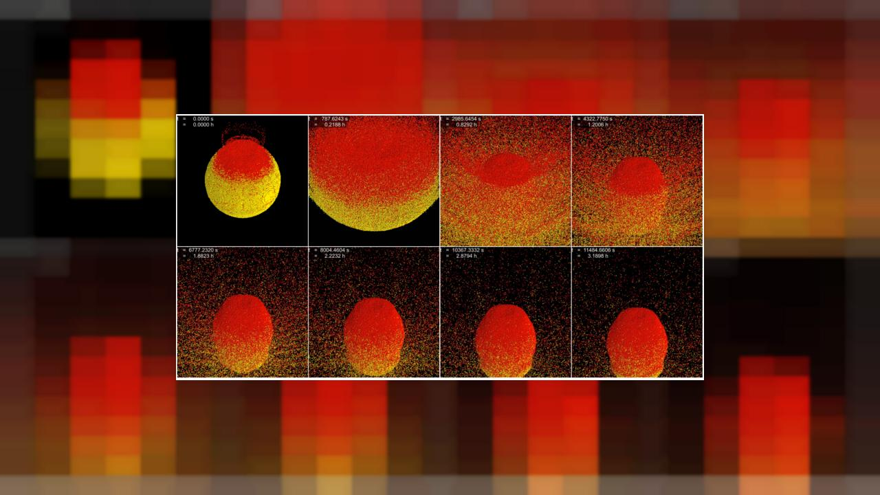 Image: A frame-by-frame shows how gravity causes asteroid fragments to re-a
