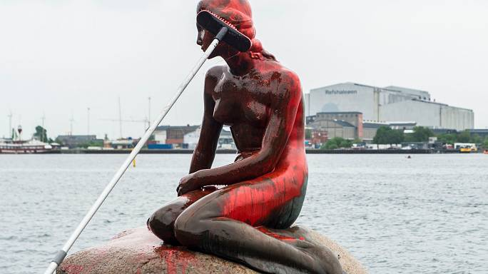 From fairytale to nightmare as Little Mermaid doused in red paint