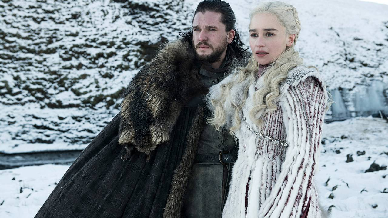 """Image: Kit Harington and Emilia Clarke appear in season 8 of HBO's """"Game of"""