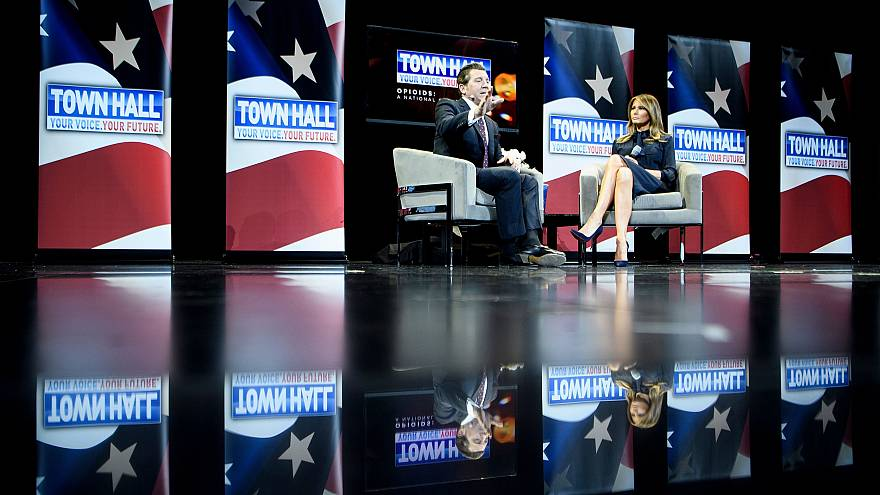 Image: First Lady Melania Trump and Eric Bolling during a town hall event a