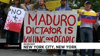 New York'ta Venezuela protestosu