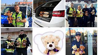 Estonia: osos de peluche en los coches patrulla