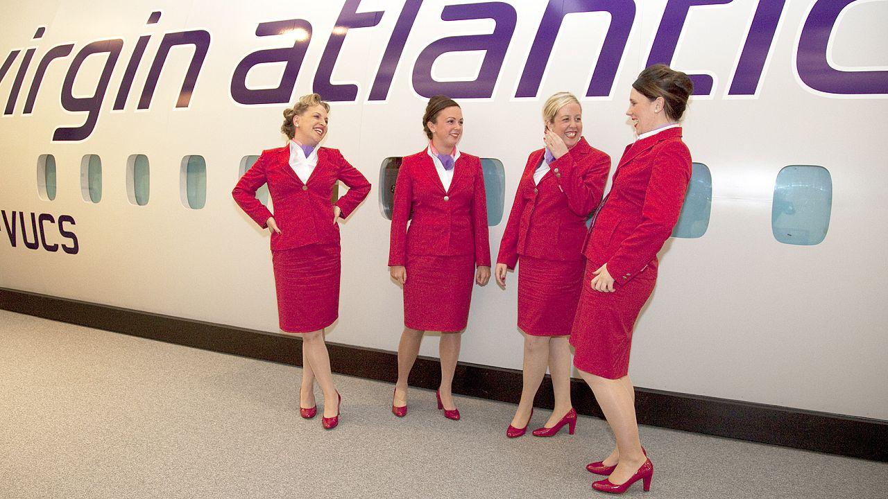 UK - Flight attendants - Virgin Atlantic air hostess training at The Base f