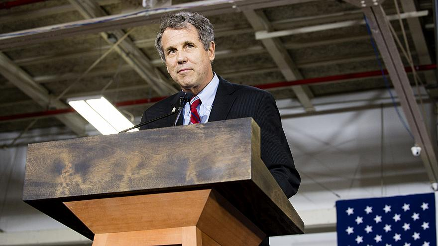 Image: Sen. Sherrod Brown, D-Ohio, speaks at a campaign rally in Cleveland