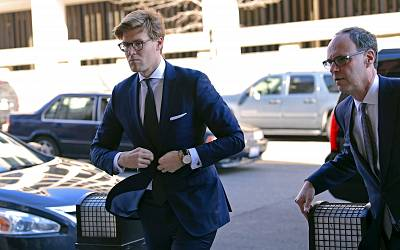 Alex van der Zwaan, left, arrives at Federal District Court in Washington on Feb. 20, 2018. Van der Zwaan has been accused of lying to investigators about his interactions with Rick Gates, who was indicted last year along with Paul Manafort, President Donald Trump\'s campaign chairman, on charges of conspiracy to launder money and acting as an unregistered foreign agent.
