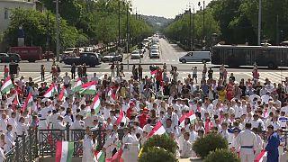 Judocas desfilam na praça dos heróis