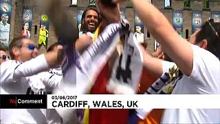 Fans warming up for Juventus against Real Madrid in Cardiff