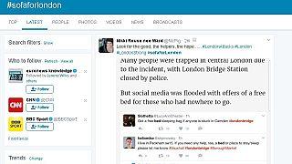 L'attentat de Londres vu de Twitter : #SofaForLondon et faux appels à disparus
