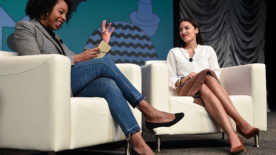 Image: U.S. Congresswoman Alexandria Ocasio-Cortez speaks about the first f