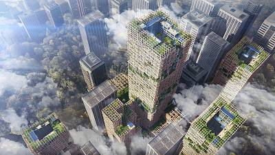 Sumitomo Forestry\'s concept for a 1,150-foot-tall wooden high-rise building.