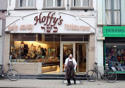Hoffy\'s kosher deli and restaurant in Antwerp, Belgium.