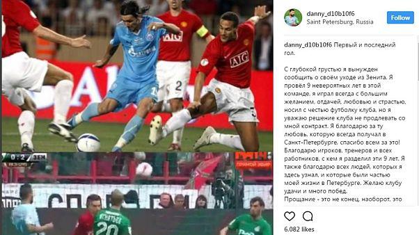 Danny deixa Zenit após nove anos em São Petersburgo