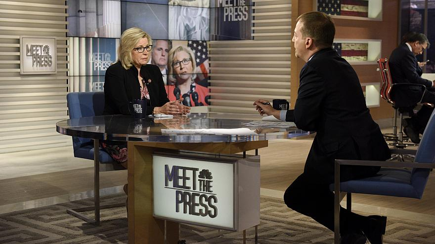 "Image: Rep. Liz Cheney speaks to Chuck Todd on ""Meet The Press"" on March 10"