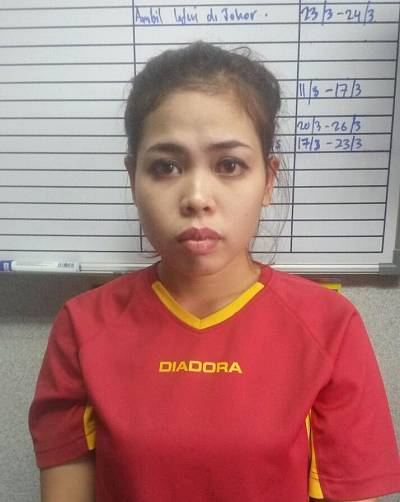 Siti Aisyah in an image released by the Royal Malaysia Police six days after Kim Jong Nam\'s death in 2017.