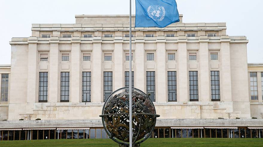 Image: The U.N. flag flies at half-staff in Geneva, Switzerland