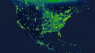 Image: A map from Radiance Light Trends that captures light emissions on ea