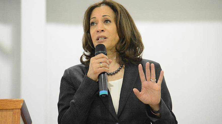 Image: Sen. Kamala Harris, D-Calif., speaks during an event in St. George,
