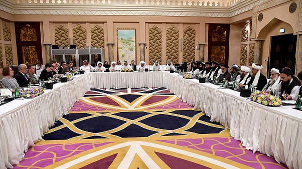Image: Qatari officials take part in meeting between U.S. special envoy Zal