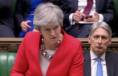 Britain\'s Prime Minister Theresa May speaks in Parliament on Tuesday.