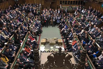 Lawmakers await the result of the vote on the government\'s Brexit deal in the House of Commons in London on March 12.