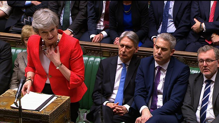 Image: Britain's Prime Minister Theresa May speaking to the house after los
