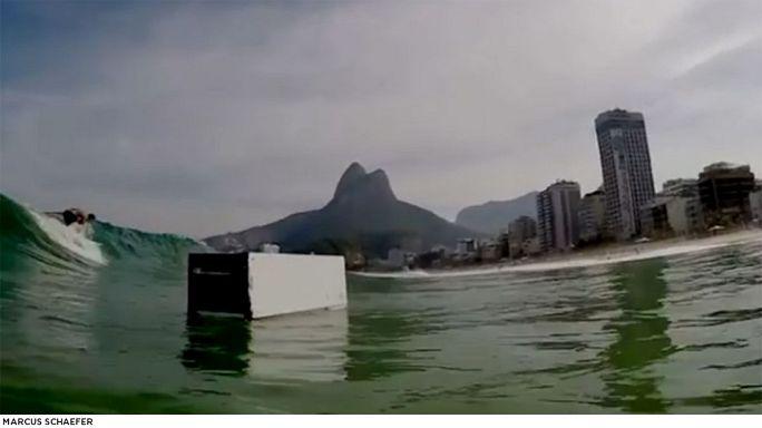 Surfer's close encounter with a fridge prompts pollution plea