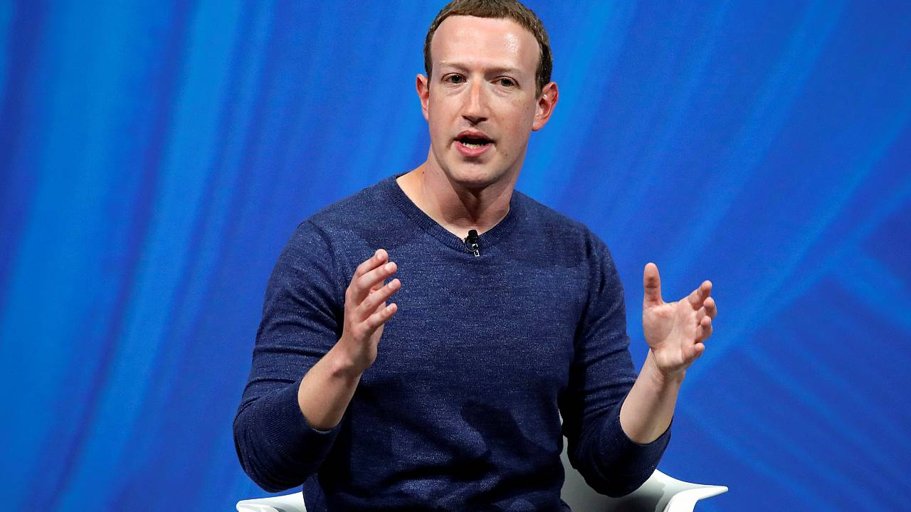 Image: Facebook's founder and CEO Mark Zuckerberg speaks at the Viva Tech s